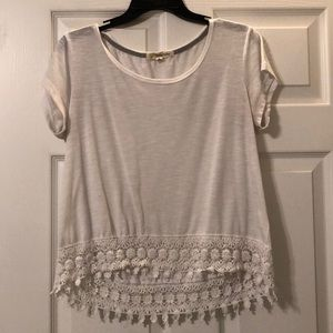White tee with floral lace bottom